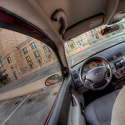 Kansas City's Union Station with my fisheye lens from the back seat of my car.