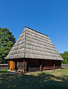 "Wooden vernacular shed and stable built by ""Pasco of the Salaje"" (county Salaj) in 1775. Dimitrie Gusti National Village Museum (Muzeul Satului) in Bucharest, Romania"