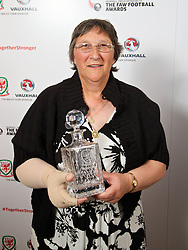 CARDIFF, WALES - Monday, October 6, 2014: FAW Service award winner Swansea City Ladies' Julie Lowe at the FAW Footballer of the Year Awards 2014 held at the St. David's Hotel. (Pic by David Rawcliffe/Propaganda)