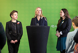 © Licensed to London News Pictures. 06/11/2019. Bristol, UK. General Election 2019; Left-right: CARLA DENYER Green parliamentary candidate for Bristol West, SIAN BERRY co-leader of the Green Party, AMELIA WOMACK deputy leader of the Green Party. The Green Party's national campaign event at We The Curious in Bristol Harbourside on the day of the official start of the general election campaign 2019. The Green Party are targeting the seat of Bristol West where the Labour MP Thangam Debbonaire has a large majority but where the Green candidate came first in the elections for the European Parliament. Photo credit: Simon Chapman/LNP.