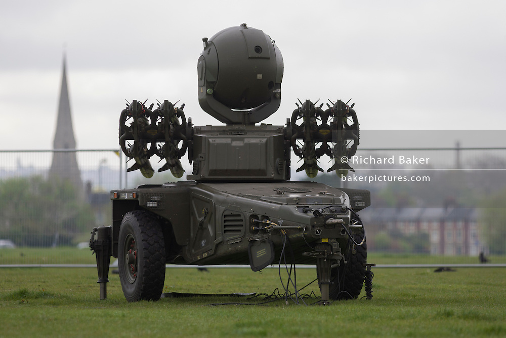 Rapier surface-to-air missiles stationed on Blackheath, a security measure in readiness for the London 2012 Olympic games.
