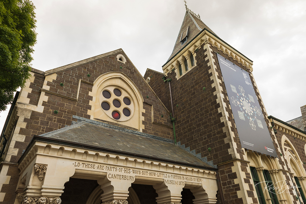 Facade detail at the Canterbury Museum, Christchurch, Canterbury, South Island, New Zealand