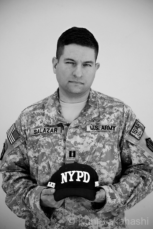 CPT John Salazar, 36, Brooklyn, NY.Army Reserve 151 TIOG (Theatre Information Operations Group) .2nd deployment.at Bagram airfield, Afghanistan on Aug 22, 2011.(Photo by Kuni Takahashi)