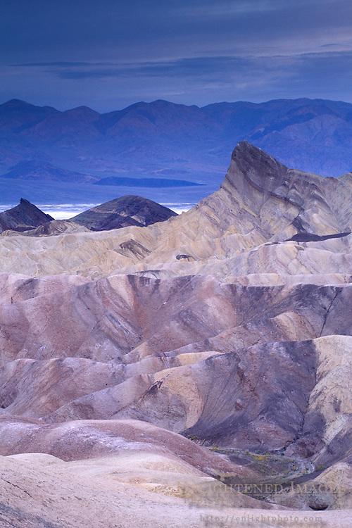 Evening light over eroded hills at Zabriskie Point, Death Valley National Park, California