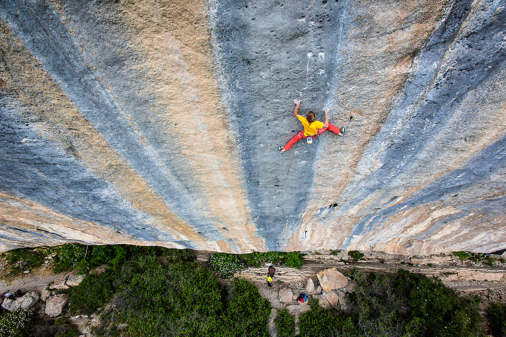 Alex Megos climbing Biographie, 5.15a, in Ceuse, FR.