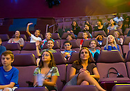 "Oct 4, 2012 - GARDEN CITY, NEW YORK U.S. - At new JetBlue Sky Theater Planetarium at Cradle of Aviation Museum, Nassau County students watch ""We Are Astronomers"" a digital planetarium show. The planetarium, a state-of-the-art digital projection system, officially opens this weekend."