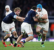 James Haskell of England (R) is tackled by Jim Hamilton of Scotland (4) during the RBS 6 Nations match at Twickenham Stadium, Twickenham<br /> Picture by Andrew Tobin/Focus Images Ltd +44 7710 761829<br /> 14/03/2015