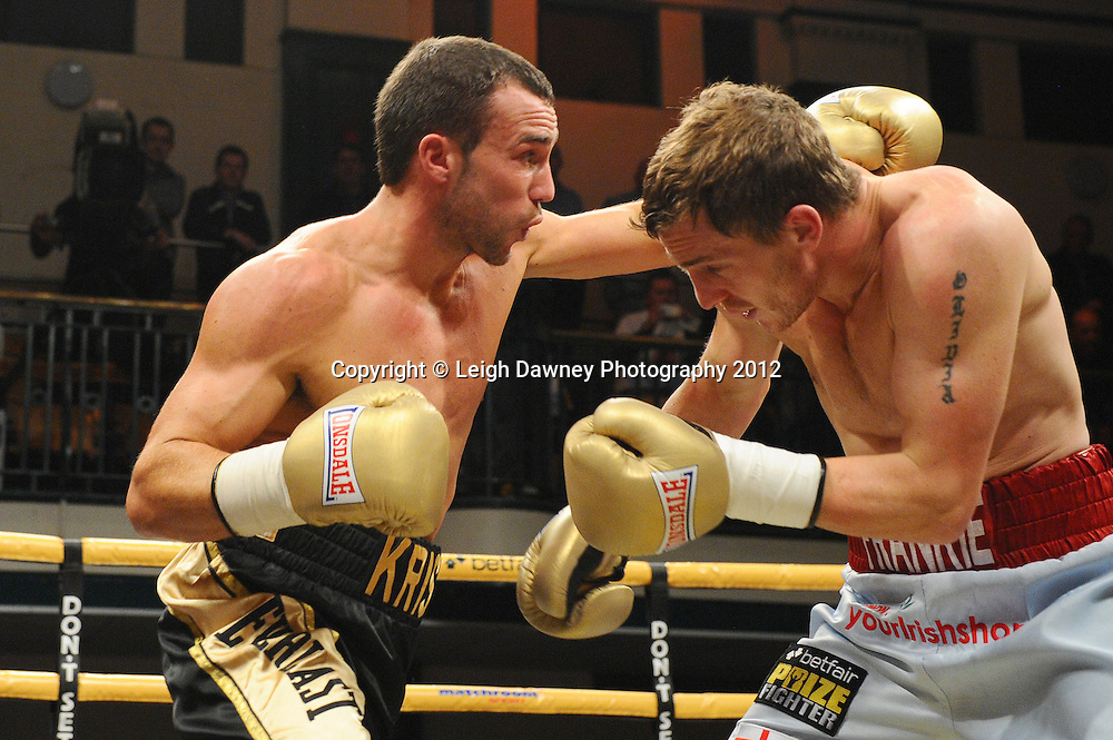 Kris Carslaw defeats Ryan Toms in Quarter Final Two, Prizefighter at York Hall, Bethnal Green, London on the 1st November 2012. Frank Warren Promotions. © Leigh Dawney Photography 2012.