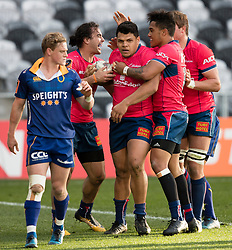 Tasman players celebrate Levi Aumua's try, centre, against Otago in the Mitre 10 Cup rugby match, Forsyth Barr Stadium, Dunedin, New Zealand, Sept. 16 2017.  Credit:SNPA / Adam Binns ** NO ARCHIVING**