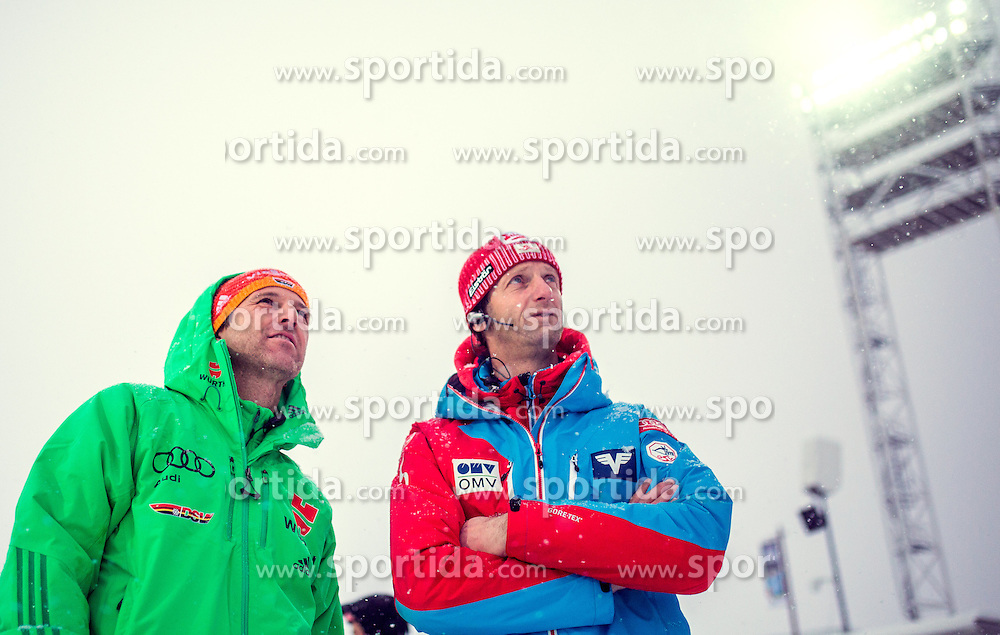 04.12.2015, Lysgards Schanze, NOR, FIS Weltcup Ski Sprung, Lillehammer, Herren, Training, im Bild v.l.: Trainer Werner Schuster (GER), Cheftrainer Heinz Kuttin (AUT) // f.l.: Headcoach Werner Schuster of Germany with Headcoach Heinz Kuttin of Austria during Mens Skijumping Training of FIS Skijumping World Cup at the Lysgards Hill, Lillehammer, Norway on 2015/12/04. EXPA Pictures © 2015, PhotoCredit: EXPA/ JFK