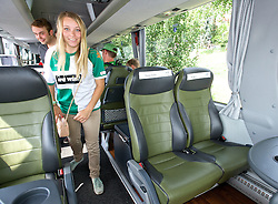 03.08.2014, Weserstadion, Bremen, GER, SV Werder Bremen, Tag der Fans, im Bild ein weiblicher Fan im Mannschaftsbus // during the supporters day of the german 1st Bundesliga Club SV Werder Bremen at the Weserstadion in Bremen, Germany on 2014/08/03. EXPA Pictures © 2014, PhotoCredit: EXPA/ Andreas Gumz<br /> <br /> *****ATTENTION - OUT of GER*****