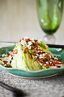 Wedge Salad with Creamy Gorgonzola Dressing and Bacon Strips Food and Prop Styling by Melissa H. Schenker/Foodie for Two