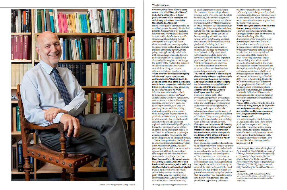 Client Therapy Today<br /> http://www.therapytoday.net<br /> <br /> Colin Feltham interviews psychoanalyst, psychologist and leading academic Peter Fonagy