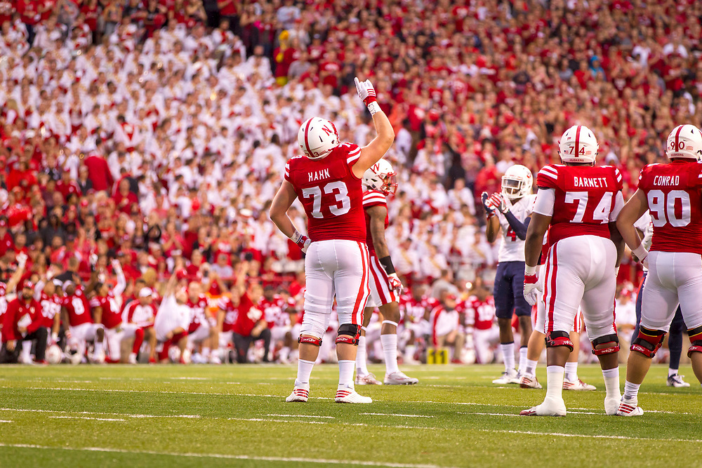 Sam Hahn #73 points to the sky in honor of deceased teammate Sam Foltz as Nebraska takes an intentional delay of game during Nebraska's 43-10 win over Fresno State at Memorial Stadium in Lincoln, Neb. on Sept. 3, 2016. Photo by Aaron Babcock, Hail Varsity