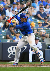 June 13, 2018 - Milwaukee, WI, U.S. - MILWAUKEE, WI - JUNE 13: Chicago Cubs Second base Javier Baez (9) at the plate during a MLB game between the Milwaukee Brewers and Chicago Cubs on June 13, 2018 at Miller Park in Milwaukee, WI. The Brewers defeated the Cubs 1-0.(Photo by Nick Wosika/Icon Sportswire) (Credit Image: © Nick Wosika/Icon SMI via ZUMA Press)
