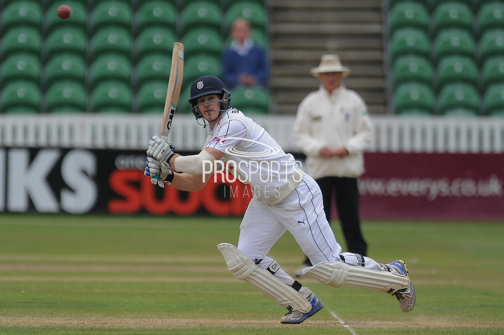 Jimmy Adams plays a shot to bring up his century during the LV County Championship Div 1 match between Somerset County Cricket Club and Hampshire County Cricket Club at the County Ground, Taunton, United Kingdom on 11 September 2015. Photo by David Vokes.