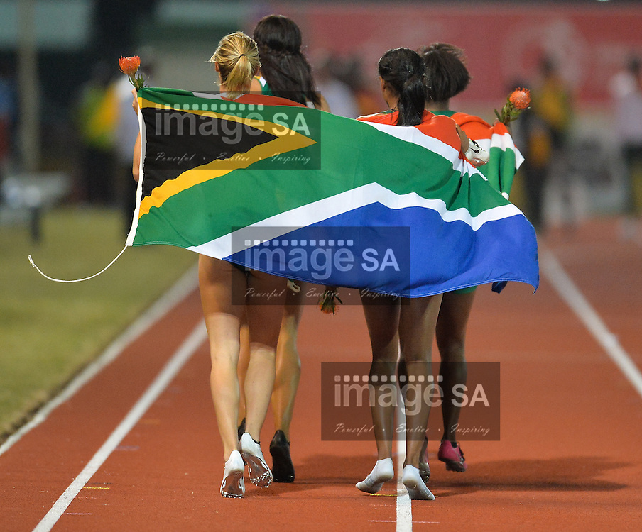 DURBAN, SOUTH AFRICA - JUNE 24: the winning 4x100m relay team of South Africa made up of Tamzin Thomas,Carina Horn, Alyssa Conley and Tebogo Mamatu during the afternoon session of day 3 of the CAA 20th African Senior Championships at Kings Park Athletic stadium on June 24, 2016 in Durban, South Africa. (Photo by Roger Sedres/Gallo Images)