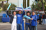 LOS ANGELES, CA - MARCH 21: Fans of Korea cheer for their team as Korea gets ready to compete against Venezuela during game one of the semifinal round of the 2009 World Baseball Classic at Dodger Stadium in Los Angeles, California on Saturday March 21, 2009. Korea defeated Venezuela 10-2. (Photo by Paul Spinelli/WBCI/MLB Photos)