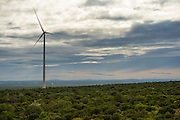 Landscape of the Sere Wind Farm with cloudy sky