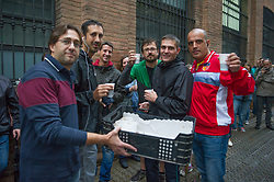 "© Licensed to London News Pictures. 01/10/2017. Barcelona, Spain.  <br /> <br /> People waiting to vote at the Sedeta de Gracia´s Centre Civic.<br /> <br /> Students, their parents, associations and neighbours have organized to carry out ""playful activities"" during the weekend and keep open the Sedeta de Gracia´s Centre Civic.<br />  <br /> Since early in the morning dozens of people wait at the college´s door for the voting time under the rain.<br /> <br /> Mossos d´Escuadra said they won´t do nothing if that can destabilize social order.<br /> <br /> Catalonia is awaiting for today, October 1st, when the Spanish Region wants to vote in a self-determination referendum to get a independence.<br /> <br /> The Referendum´s Law was passed on last September 6th at the Catalonian Parliament thanks to the votes of ""Junts pel Sí"" and ""CUP"". Then it was suspended by the Spanish Constitutional Court, on next day.<br /> Carles Puigdemont, the President of the Government of Catalonia, said he would ignore that and he and his Government will continue with the Referendum.<br /> <br /> The Spanish Government has sent to Catalonia thousands of ""Guardia Civil"" and ""Policía Nacional"" officers (two of the Spanish forces and state security forces), to enforce the ruling of the Constitutional Court and avoid the voting process on next Sunday. They will work with the Mossos d´Escuadra (the Autonomic police in Catalonia).<br /> <br /> To avoid the vote, the Spanish Government has prevented the opening of polling stations, some of which are schools.  <br /> <br /> Photo credit: Gustavo Valiente/LNP"