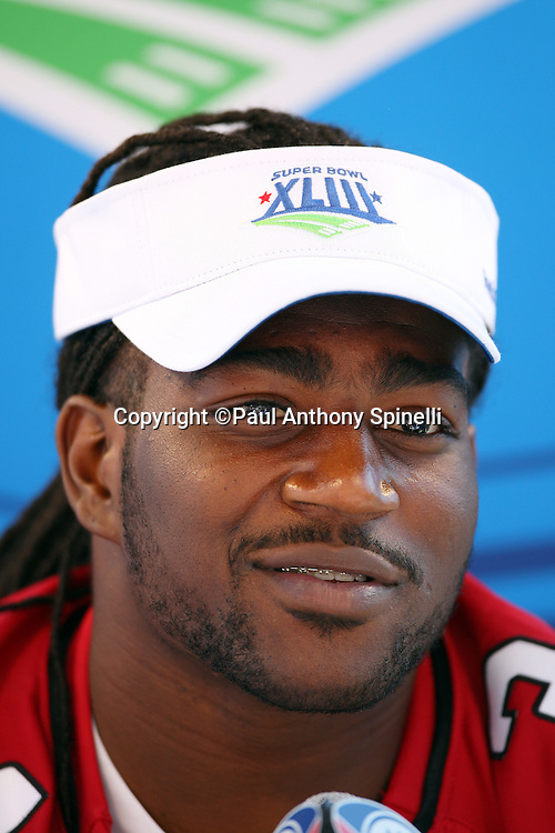 TAMPA, FL - JANUARY 27: Running back Tim Hightower #34 of the NFC Arizona Cardinals speaks to the media during Super Bowl XLIII Media Day at Raymond James Stadium on January 27, 2009 in Tampa, Florida. ©Paul Anthony Spinelli *** Local Caption *** Tim Hightower