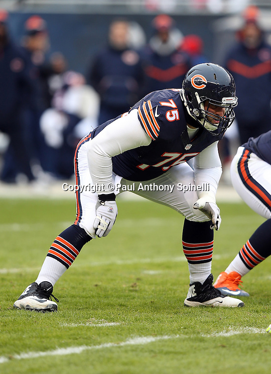 Chicago Bears offensive tackle Kyle Long (75) gets set to block during the NFL week 17 regular season football game against the Detroit Lions on Sunday, Jan. 3, 2016 in Chicago. The Lions won the game 24-20. (©Paul Anthony Spinelli)