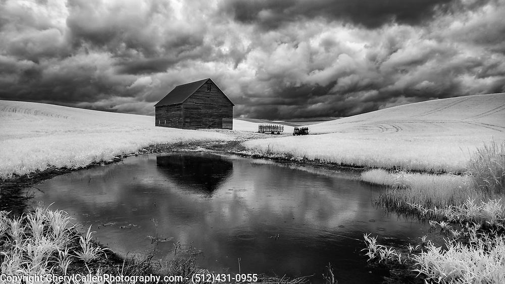 Infrared image of an old barn and pond in Palouse.