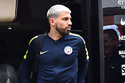 Sergio Aguero (10) of Manchester City gets off the team bus on arrival at the Viatlity Stadium before the Premier League match between Bournemouth and Manchester City at the Vitality Stadium, Bournemouth, England on 2 March 2019.