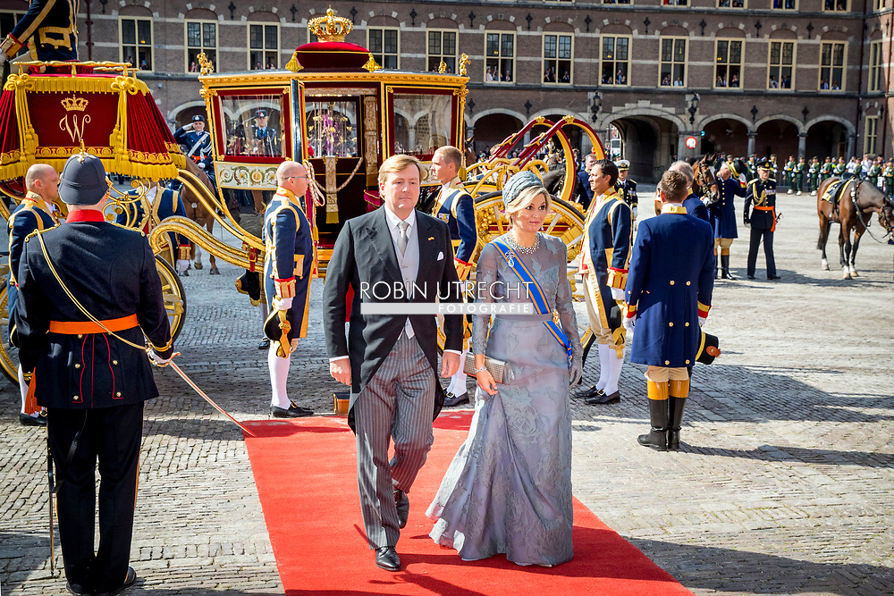 King Willem-Alexander of The Netherlands and Queen Maxima of The Netherlands arrive with the Glass Coach at the Ridderzaal during Prinsjesdag in The Hague, The Netherlands, 19 September 2017. Prinsjesdag is the annual opening of the parliamentary year. Photo: Patrick van Katwijk