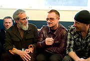 Larry Mullen, Yusuf Islam (Cat Stevens), Bono and The Edge (U2) backstage Island 50 concerts Hammersmith Empire - London 2009