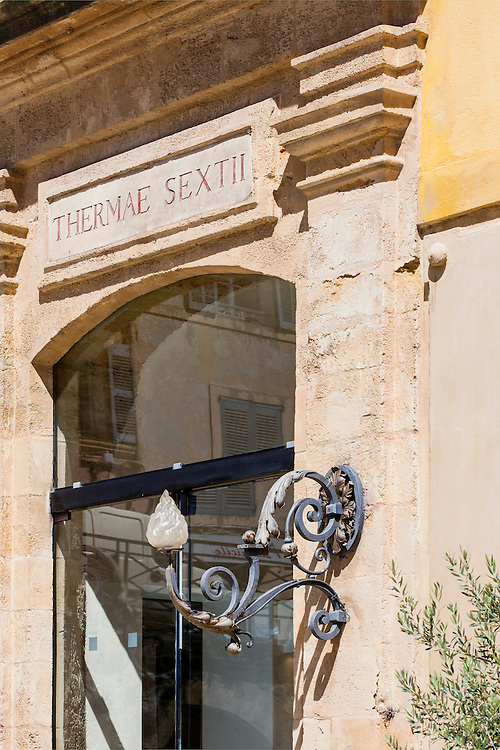 Entrance of Thermes Sextius, largest wellness area in the heart of historical center of Aix-en-Provence - France - A unique place with a broad range of services dedicated to rejuvenation, balance and fitness.