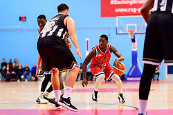 Fred Thomas of Bristol Flyers is marked by Jamal Williams of Newcastle Eagles - Photo mandatory by-line: Ryan Hiscott/JMP - 03/11/2018 - BASKETBALL - SGS Wise Arena - Bristol, England - Bristol Flyers v Newcastle Eagles - British Basketball League Championship