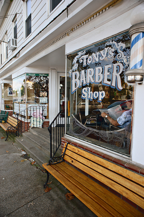 Exterior of Tony's Barber Shop, Madison, Connecticut, US