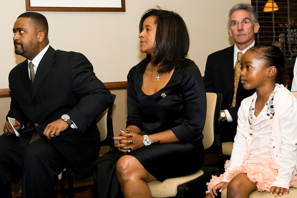 Missouri Basketball coach Frank Haith sits with his wife Pam and daughter Brianna, and Athletic Director Mike Alden, rear, before speaking to the media and supporters in the Clinton Club at Mizzou Arena on Tuesday morning, April 5, 2011 after being named the team's new head basketball coach.  Photo © 2011 Patrick T. Fallon