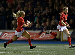 Sioned Harries of Wales Women makes a break<br /> <br /> Photographer Simon King/Replay Images<br /> <br /> Friendly - Wales Women v Hong Kong Women - Friday  16th November 2018 - Cardiff Arms Park - Cardiff<br /> <br /> World Copyright © Replay Images . All rights reserved. info@replayimages.co.uk - http://replayimages.co.uk