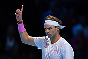 Rafael Nadal of Spain reacts  during the Nitto ATP Finals at the O2 Arena, London, United Kingdom on 15 November 2019.