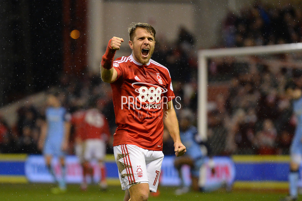 Nottingham Forest forward Jamie Ward (19) celebrates Forest's second goal scored by Nottingham Forest forward Britt Assombalonga (9) to make it 2-0 during the EFL Sky Bet Championship match between Nottingham Forest and Rotherham United at the City Ground, Nottingham, England on 31 January 2017. Photo by Jon Hobley.