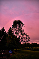 Rainbow at Sunset. Backyard spring nature in New Jersey. Image taken with a Fuji X-T1 Camera and 16-55 mm  f/2.8  zoom lens (ISO 800, 16 mm, f/2.8, 1/60 sec).