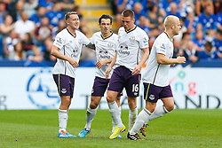 Aidan McGeady of Everton celebrates with Leighton Baines after scoring a goal to give his side a 0-1 lead - Photo mandatory by-line: Rogan Thomson/JMP - Mobile: 07966 386802 16/08/2014 - SPORT - FOOTBALL - Leicester - King Power Stadium - Leicester City v Everton - Barclays Premier League