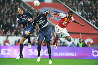 FOOTBALL - FRENCH CHAMPIONSHIP 2012/2013 - L1 - PARIS SAINT GERMAIN v STADE DE REIMS  - 20/10/2012 - PHOTO JEAN MARIE HERVIO / REGAMEDIA / DPPI - SYLVAIN ARMAND / MAMADOU SAKHO (PSG) / CHRISTOPHER GLOMBARD (SDR)