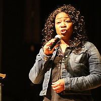 Autumn Bankhead performs a poem by Asia Rainey Saturday at the Link Centre