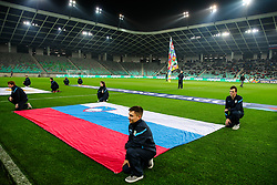 The flag of Slovenia prior to football match between National Teams of Slovenia and Cyprus in Final Tournament of UEFA Nations League 2019, on October 16, 2018 in SRC Stozice, Ljubljana, Slovenia. Photo by  Morgan Kristan / Sportida