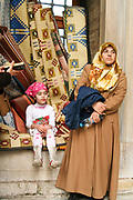 Turkish woman and daughter in a street in Istanbul, Turkey
