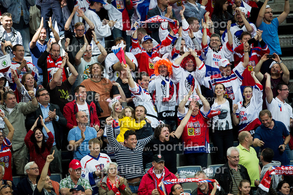 Supporters of Czech Republic celebrate during Ice Hockey match between Finland and Czech Republic at Quarterfinals of 2015 IIHF World Championship, on May 14, 2015 in O2 Arena, Prague, Czech Republic. Photo by Vid Ponikvar / Sportida