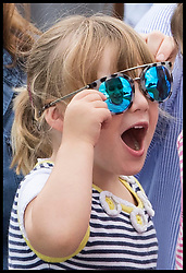 August 5, 2017 - United Kingdom - Image licensed to i-Images Picture Agency. 05/08/2017. Gatcombe Park, United Kingdom. The Queen's great-granddaughter Mia Tindall try on a pair of sunglasses on the second day of the Festival of British Eventing at Gatcombe Park, United Kingdom.  Picture by Stephen Lock / i-Images (Credit Image: © Stephen Lock/i-Images via ZUMA Press)