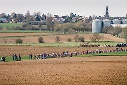 Peloton at the 3 star cobblestone sector 25 from Saint-Hilaire to Saint-Vaast during the 2018 Paris-Roubaix race, France, 8 April 2018, Photo by Thomas van Bracht / PelotonPhotos.com | All photos usage must carry mandatory copyright credit (Peloton Photos | Thomas van Bracht)
