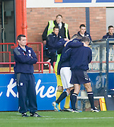 Calum Elliot goes off injured after a tackle just 32 seconds into his Dundee debut - Dundee v Raith Rovers - IRN BRU Scottish Football League First Division at Dens Park<br /> <br />  - © David Young -<br /> 5 Foundry Place - <br /> Monifieth - <br /> Angus - <br /> DD5 4BB - <br /> Tel: 07765 252616 - <br /> email: davidyoungphoto@gmail.com - <br /> http://www.davidyoungphoto.co.uk