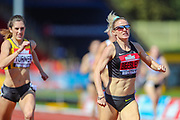 Meghan BEESLEY wins the Women's 400 Hurdles Final during the Muller British Athletics Championships at Alexander Stadium, Birmingham, United Kingdom on 25 August 2019.