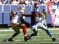 Oct 21, 2007: East Rutherford, NJ, USA: New York Giants wide receiver (17) Plaxico Buerress catches a pass against the San Francisco 49ers during the first half at Giants Stadium. Giants won 33-15..