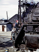 Fascinating Color Portrait Photos of Women Railroad Workers During WWII<br /> <br /> World War II began when Hitler's army invaded Poland on September 1, 1939. However, it wasn't until the day after the Japanese attacked Pearl Harbor on December 7, 1941, that the United States declared war on the Axis Powers.<br /> <br /> The railroads immediately were called upon to transport troops and equipment heading overseas. Soon the efforts increased to supporting war efforts on two fronts-- in Europe and in the Pacific.<br /> <br /> Prior to the 1940s, the few women employed by the railroads were either advertising models, or were responsible primarily for cleaning and clerical work. Thanks to the war, the number of female railroad employees rose rapidly. By 1945, some 116,000 women were working on railroads. A report that appeared on the 1943 pages of Click Magazine regarding the large number of American women who had stepped forward to see to it that the American railroads continued to deliver the goods during the Second World War:<br /> <br />     &quot;Nearly 100,000 women, from messengers aged 16 to seasoned railroaders of 55 to 65, are keeping America's wartime trains rolling. So well do they handle their jobs that the railroad companies, once opposed to hiring any women, are adding others as fast as they can get them...&quot;<br /> <br /> In April 1943, Office of War Information photographer Jack Delano photographed the women of the Chicago &amp; North Western Railroad roundhouse in Clinton, Iowa, as they kept the hulking engines cleaned, lubricated and ready to support the war effort.<br /> <br /> Photo shows: Mrs. Marcella Hart and Mrs. Viola Sievers clean an H-class locomotive.<br /> &copy;Library of Congress/Exclusivepix Media